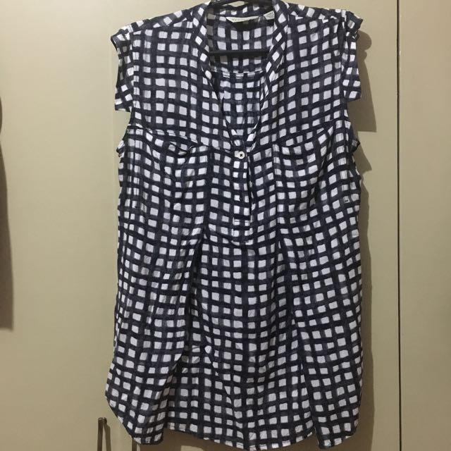 Checkered maternity/empire cut blouse