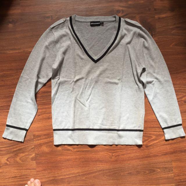 Emporio Armani V Neck Sweater Grey 9741d04202