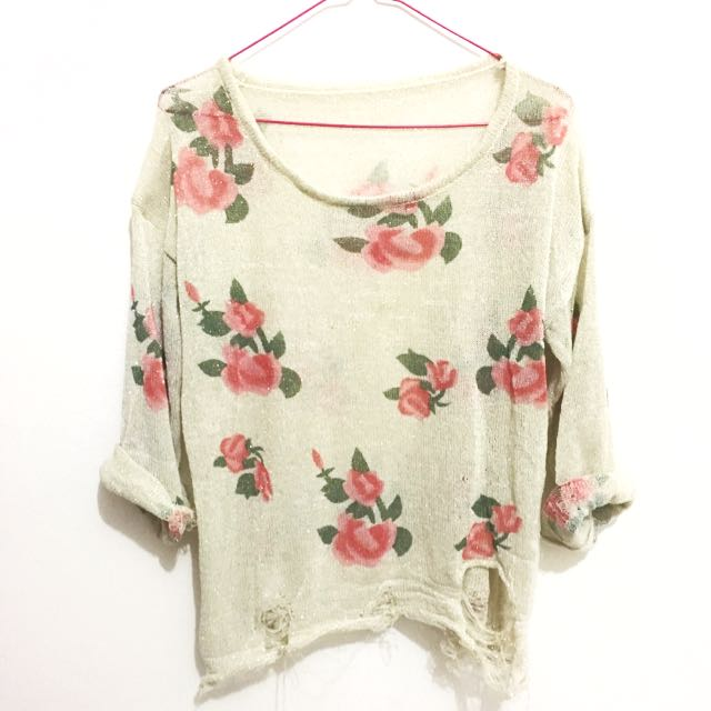 Flowery Ripped Top