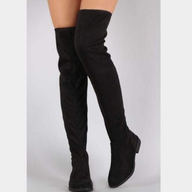 Forever 21 Faux Suede Black Thigh High Boots