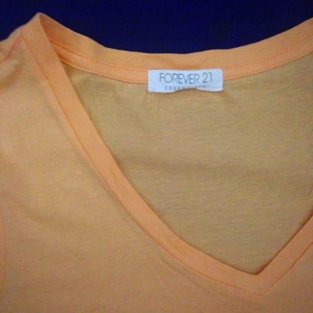 Forever 21 Orange V-Neck Shirt