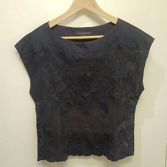 French Connection Sheer Knit Detail Top