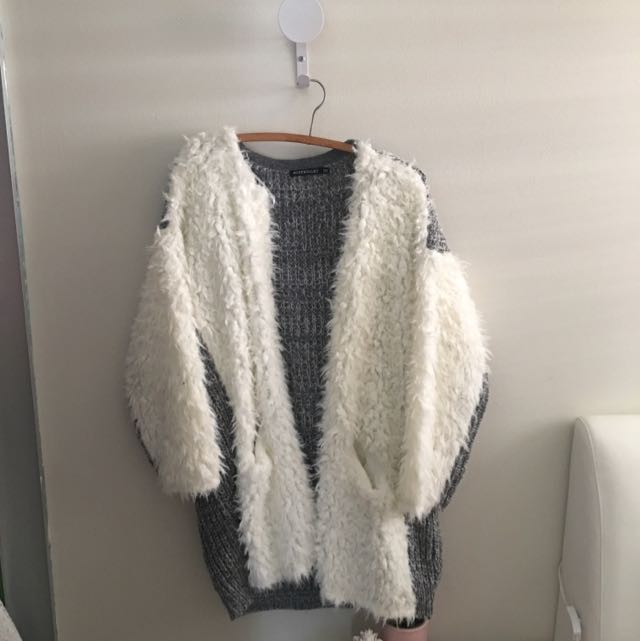 Grey And Cream Knitted Cardigan