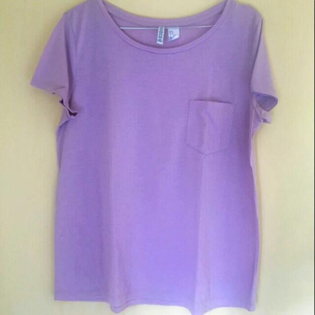H&M basic T-shirt Light Purple / H&M Ungu Muda