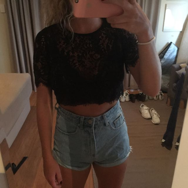 Lace Black Crop Top