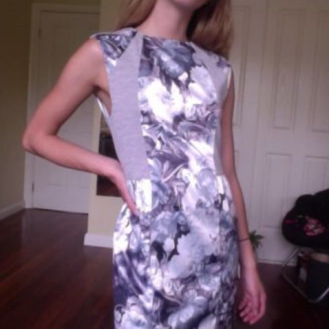 New Grey And Floral Zeitgeist Dress  - Size Small