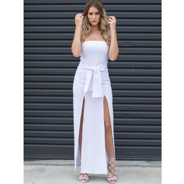NEW Strapless White Split Slit Skirt Tie Dress Long Maxi