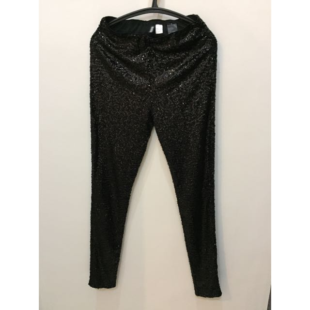 New-H&M Sequined Pants (black)
