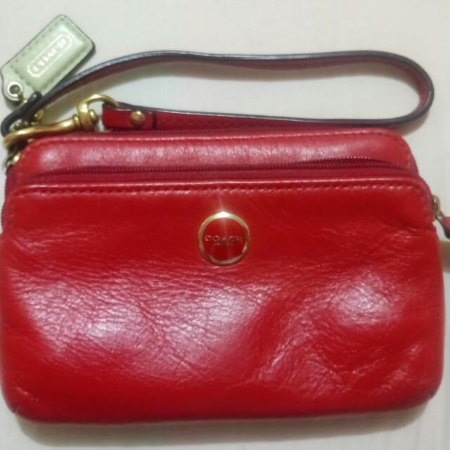 Preloved Coach Red Wristlet