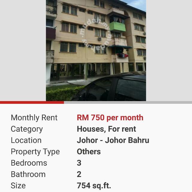 Rumah Flat Kos Rendah Taman Perling Jb Property Rentals On Carousell