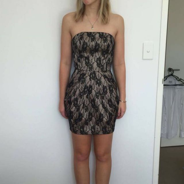 Sheike strapless mini dress, champagne silk with black lace overlay Size 8