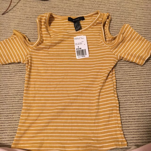 Shoulderless Yellow Striped Shirt