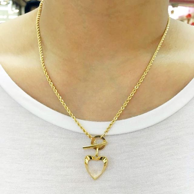 SOLID 18ct Yellow Gold T Bar Heart Necklace