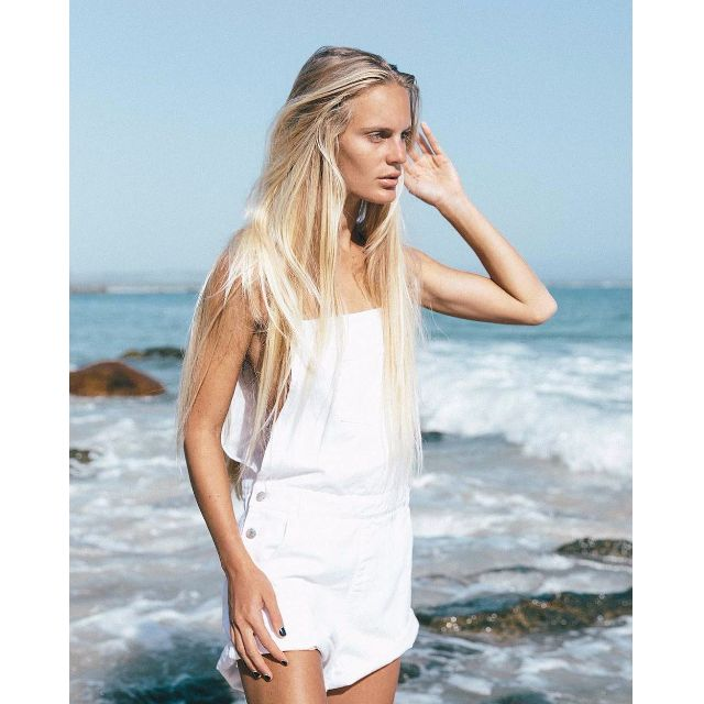 The Bare Road White Denim Overall Shorts