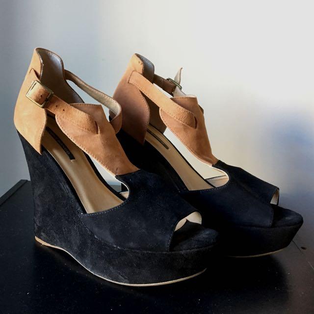 Tony Bianco Suede Wedge Heels - Size 8 1/2