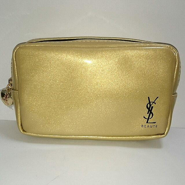 Yves Saint Laurent Beaute Beauty Gold Pouch On Carousell