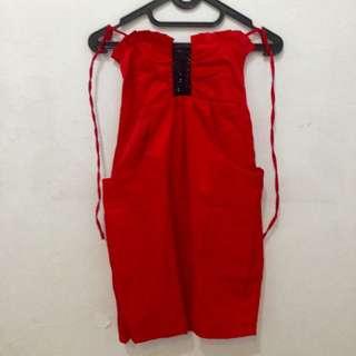 Satin Sexy Dress - Red
