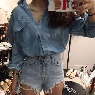 韓國 chic 淺藍色水洗毛須邊牛仔襯衫上衣