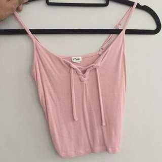 Lace Up Pink Tank- garage clothing
