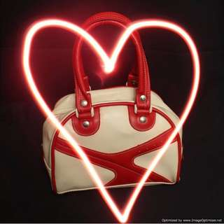 Brandless Red Beige Bowler Hand Bag