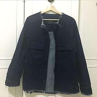 Zara Trafaluc Dark Denim Coat (USA Medium)