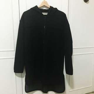 Zara Trafaluc Black Polyester Coat With Hood (USA Large)