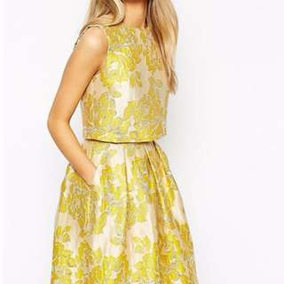 New ASOS Yellow Floral Jacquard Shell Top