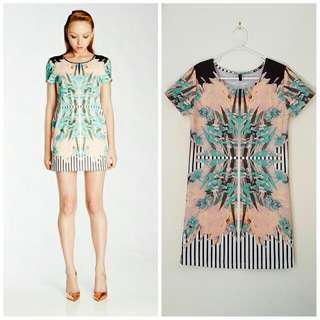 Staple The Label Floral Stripe Print Ponte Dress