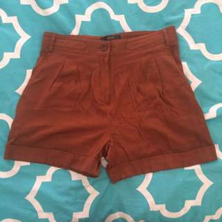 ASOS Silk High Waisted Shorts In Dark Copper