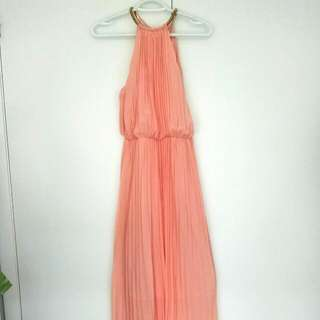 Peach Dress with Gold Halter Chain