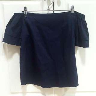 Navy Off-shoulder Cotton Top