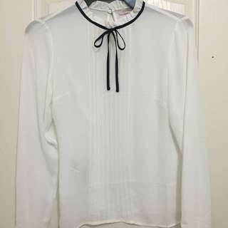 Forever 21 White High Neck Chiffon Top With Black Tie