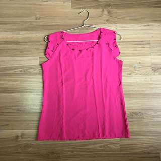 Studded Top Hot Pink