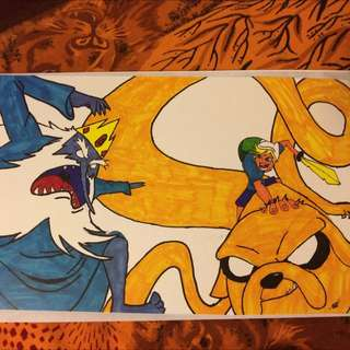 Adventure Time Finn,Jake And Ice King Artwork