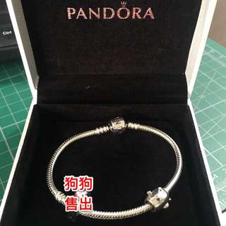 PANDORA Charm Bracelet Sterling Silver 18cm 手鍊 飛機 潘朵拉