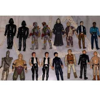 70s Vintage Star Wars (Kenner) lot of 16 figures, Luke Skywalker, Darth Vader, Han Solo, Boba Fett