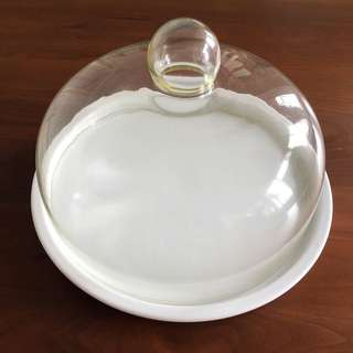 "(Reduced) 10"" Ceramic Cake Holder with Glass Cover"