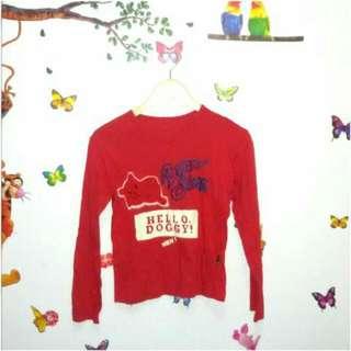 Baju Atasan Kaos Tangan Panjang Wanita Blouse Santai Merah
