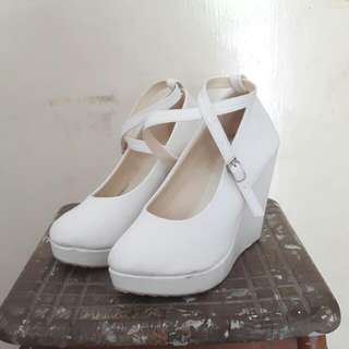 White Ankle Strap Wedges