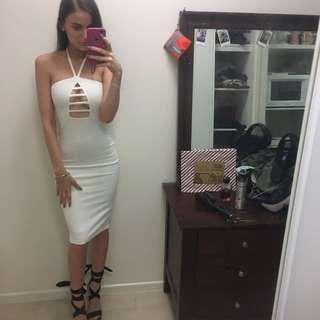 Lady Luxe Boutique Bodycon Midi White Dress