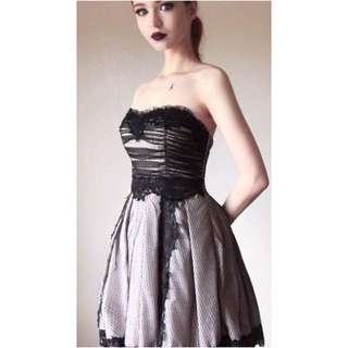 Black And Pale Pink Lacy Formal Dress