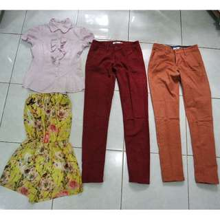 Chino pants Hardware, Kemeja kerja Accent, Short jumpsuit yellow