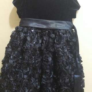 EUC little girl's blue floral, lace, velvet dress sz4