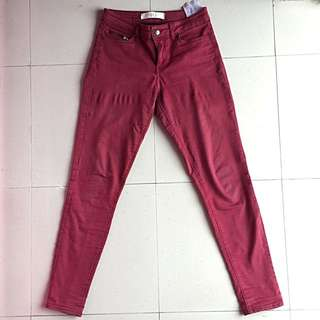 ZARA Pants Original Basic Denim Jeans Maroon