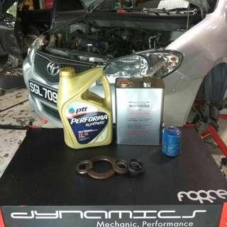 Toyota Vios/Altis/Wish/Allion/Axio: Flywheel/Torque converter Oil Seals + ATF Replacement