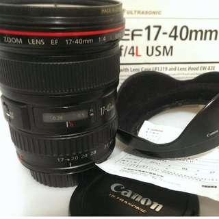 Canon EF 17-40L 公司貨附b+w保護鏡+kenko偏光鏡