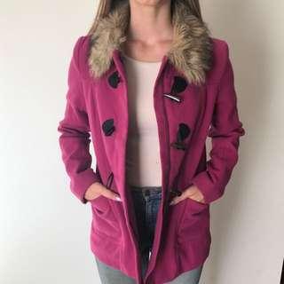 H&M Magenta Coat With Faux Fur Collar