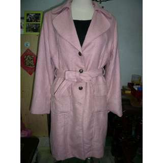 [二手] 粉色有領長大衣 長袖外套 長版外套 附腰帶