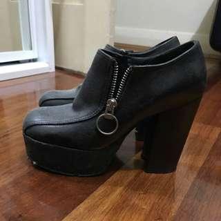 Black, Chunky Block Heels