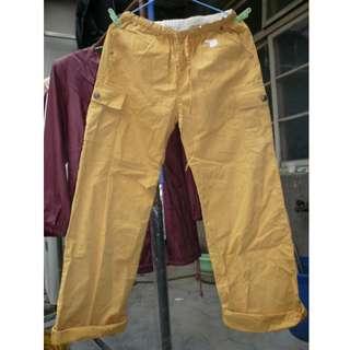 [全新] 黃色 芥末色 鬆緊帶綁帶直筒褲 長褲 很舒適的休閒褲